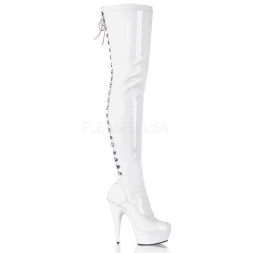 DELIGHT-3063 Wit | Hoge witte laarzen met naaldhak | Sexyhogehakken