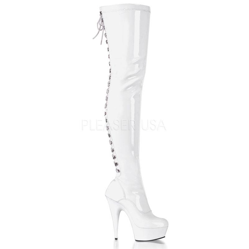 DELIGHT-3063 Wit   Hoge witte laarzen met naaldhak   Sexyhogehakken