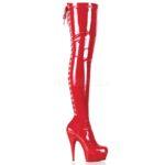 DELIGHT-3063   Rode sexy stretch laarzen overknee met naaldhak