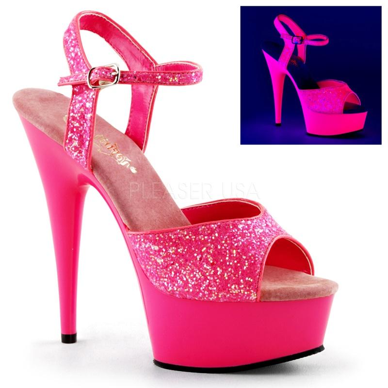DELIGHT-609 UV | Neon roze dansschoenen met plateau | Pleaser