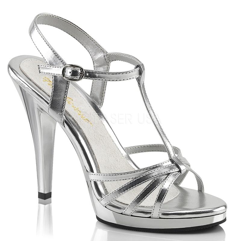 FLAIR-420   Zilveren Pleaser sandalen   Sexyhogehakken.nl