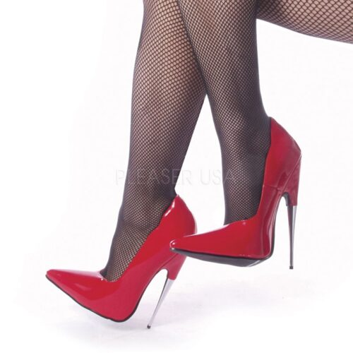 SCREAM-01 Rood lak pump met metalen stiletto hak