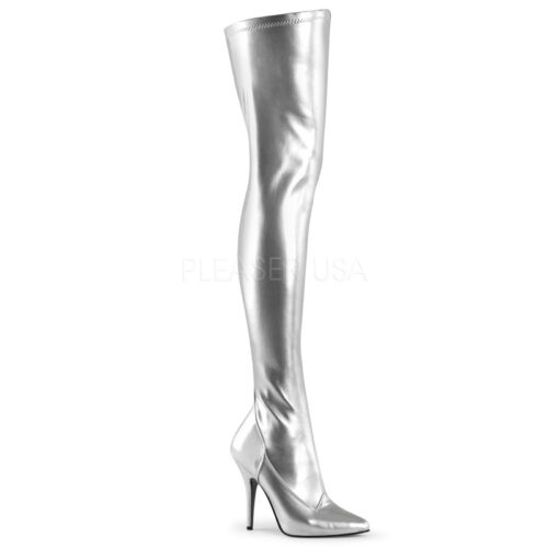 SEDUCE-3000 Stretch overknee laars in zilver