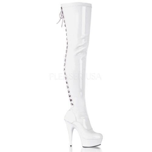 Sexy stretch laarzen tot over de knie in wit lak met plateau, veters en naaldhak
