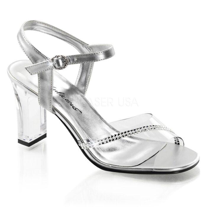 ROMANCE-308R Poseerschoenen met doorzichtige hak en strass stenen over de voet