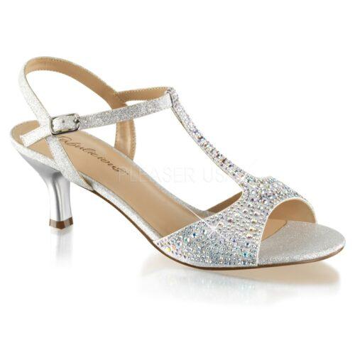 AUDREY-05 | Zilveren gala sandaaltje met T-band en lage hak