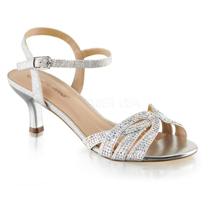 AUDREY-03 Zilver sandaaltje met strass steentjes en lage hak.