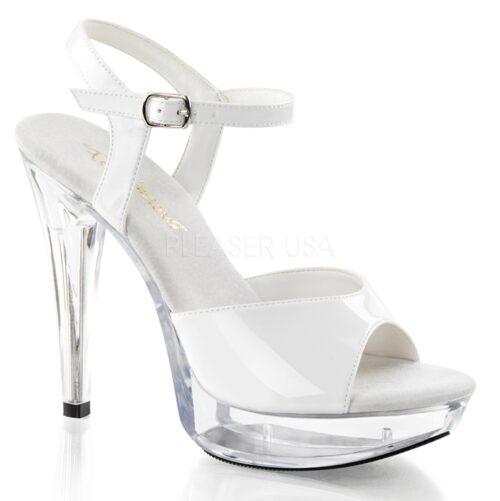 COCKTAIL-509 | Wit sandaaltje met lage naaldhakken | Sexyhogehakken