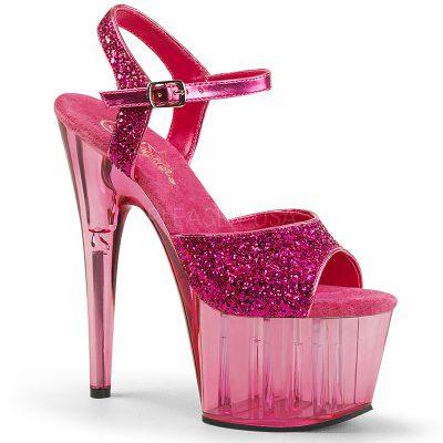 Roze glitter dansschoenen met doorzichtige plateau en hak