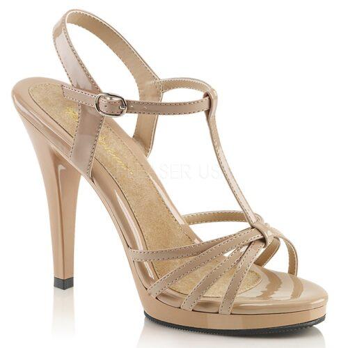 Nude sandalen met hoge hakken, klein plateautje en bandjes