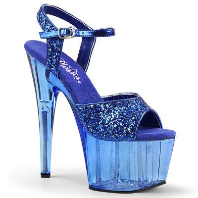 Blauwe glitter dansschoenen met doorzichtige plateau en hak