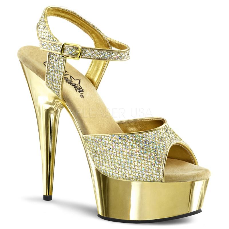 DELIGHT-609G | Gouden high heels met glitters | Sexyhogehakken.nl
