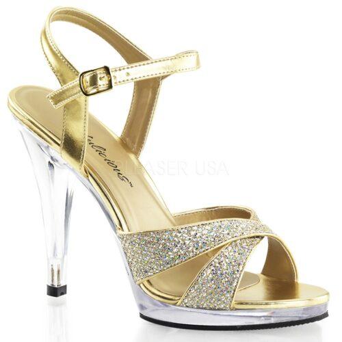 Gouden Gala schoenen in grote maten met naaldhakken