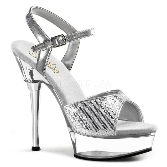 Sandaaltje in zilver imi-leer met open teen en pinhak