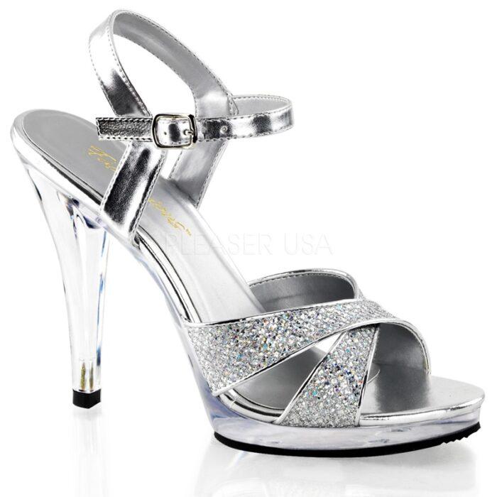 Zilveren Gala schoenen in grote maten met naaldhakken