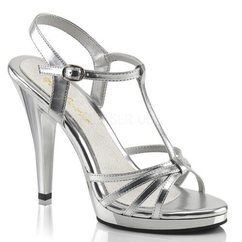 Zilveren sandalen met hoge hakken, klein plateautje en bandjes