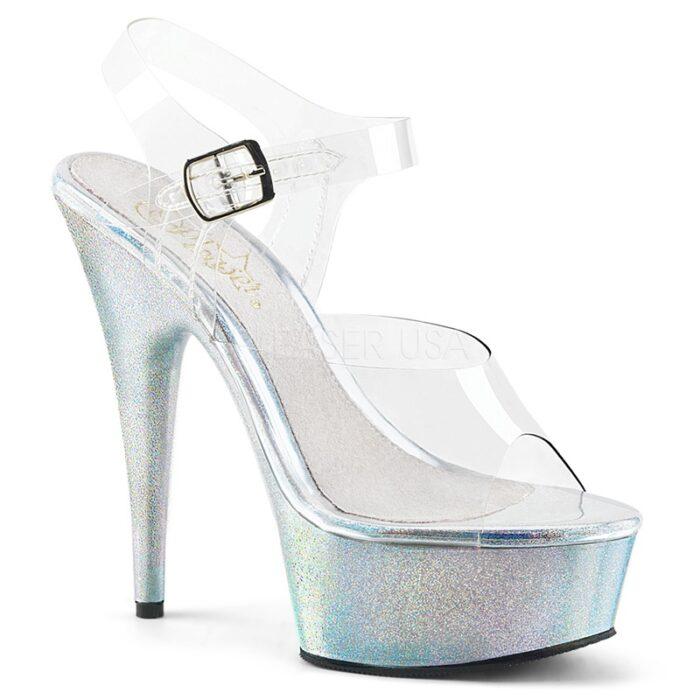 Doorzichtige dansschoenen met hologram glitter zool en hak