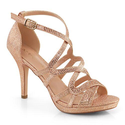 DAPHNE 42 Rosé gouden glittersandalen met bandjes