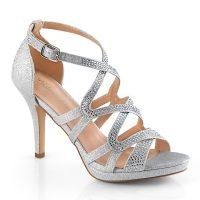 DAPHNE-42 Zilveren glittersandalen met bandjes over de voet