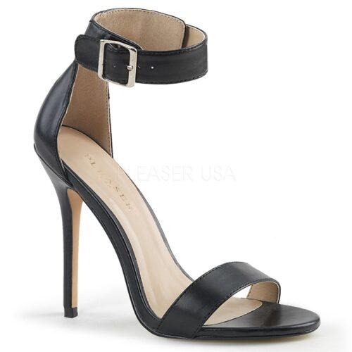 AMUSE-10 Zwart PU sandaal met hoge naaldhak