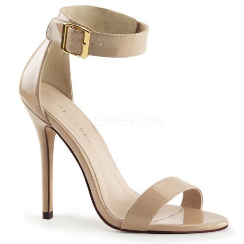 AMUSE-10 Nude lak sandaaltjes met hoge naaldhak