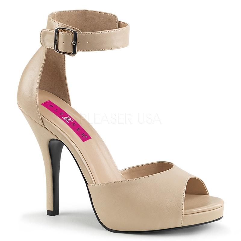 EVE-02 | Beige open schoenen in grote maten met enkelband en naaldhakken