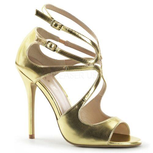 Jimmy Choo lookalike sandaaltje in goud met bandjes en naaldhak