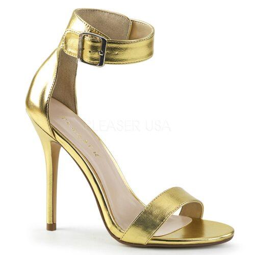 AMUSE-10 Goud PU sandaal met hoge naaldhakken