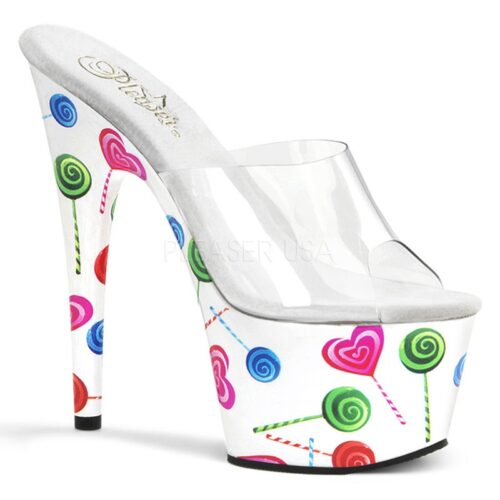 Lolly print slippers in wit met hoge plateau en naaldhakken