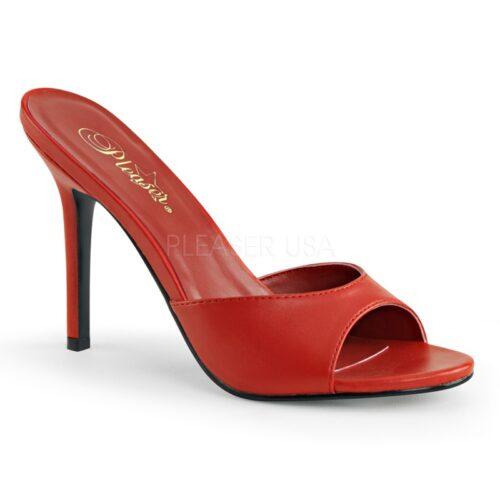Eenvoudig rood muiltje met een brede band over de voet en naaldhak