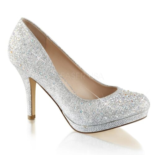 COVET-02 | Pleaser gala glitterpump in zilver