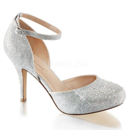 COVET-03 | Pleaser glitterpump in zilver met enkelband
