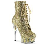 DELIGHT-1020G | Gouden enkellaars met glitters en naaldhak
