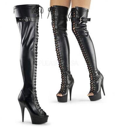 DELIGHT-3025 | Overknee laarzen met peeptoe | Sexyhogehakken.nl