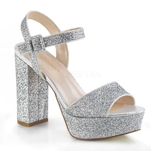 CELESTE-09 | Pleaser sandaal met blokhak en glitters | Sexyhogehakken