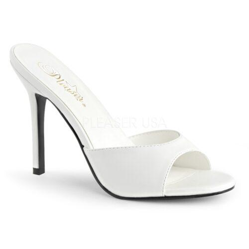 CLASSIQUE-01 | Klassieke slipper met hak in wit | Sexyhogehakken.nl