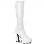 ELECTRA-2000Z | Witte hoge lak laarzen tot de knie met dikke hakken