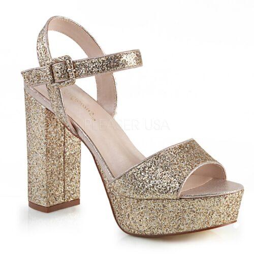 CELESTE-09 | Gouden blokhak sandalen met glitters | Glitter sandalen