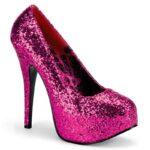 TEEZE-06 GW | Roze glitter pump voor brede voet