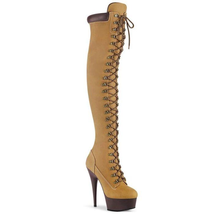 DELIGHT-3000 TL | Timberland look-a-like overknee laarzen met hoge hak