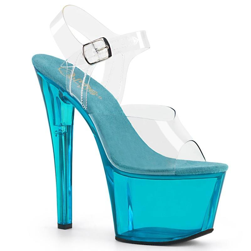 SKY-308 T | Blauw tinted dansschoenen met 18 cm hakken