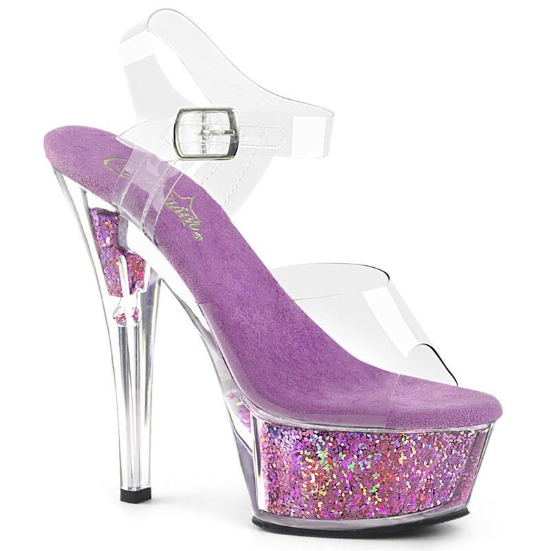 KISS-208 GF   Paars glitter gevulde dansschoenen met enkelband