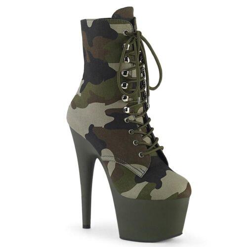 ADORE-1020 CAMO | Legergroene camouflage enkellaars | Pleaser
