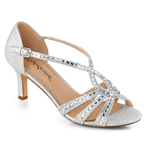 MISSY-03 | Zilveren gala schoen | Steentjes | 6 cm hak | Fabulicious