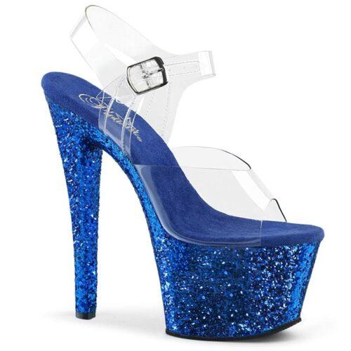 SKY-308 LG | Blauwe glitter plateau schoenen met hoge hak