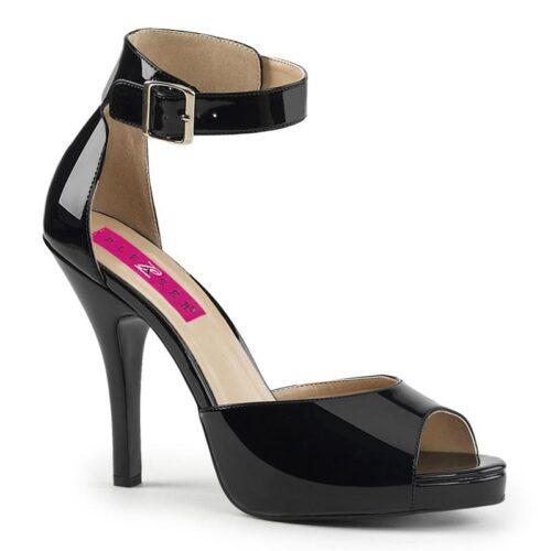 EVE-02 Zwart lak open teen sandaal in grote maten | Pleaser